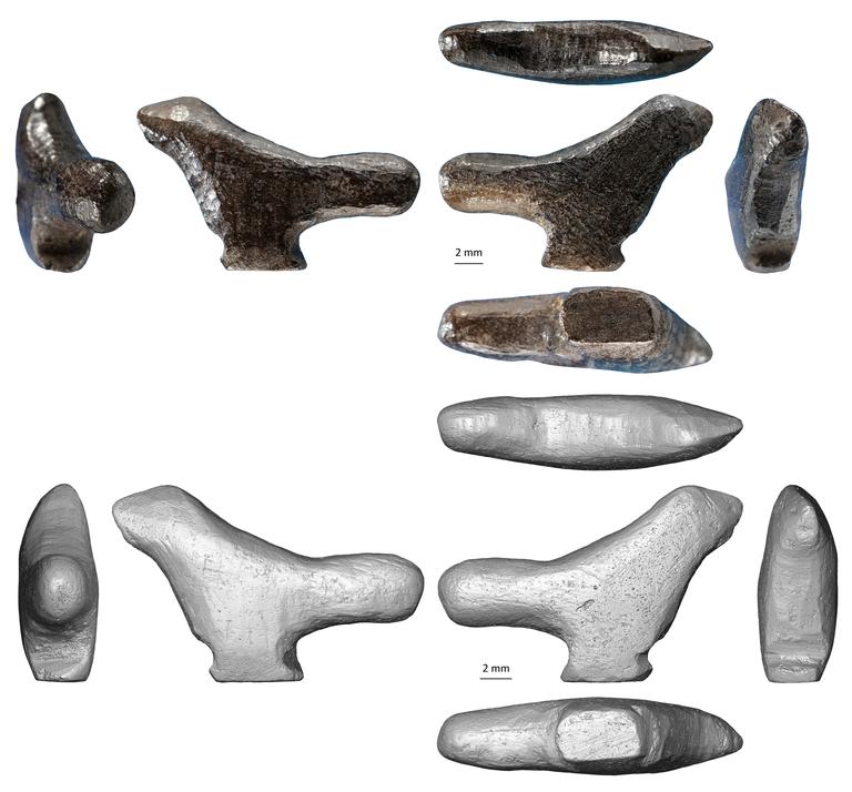 Fotografía y reconstitución 3D de la figura en miniatura de pájaro descubierta en Lingjing (provincia de Henan, China), de 13 500 años.