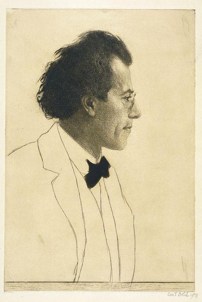 Gustav Mahler (1860-1911) retratado por Emil Orlik (1870-1932) en 1903.