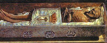 Dibujo que representa el cuerpo de san Isidro, tal y como fue hallado tras la apertura de su sarcófago en 1982.
