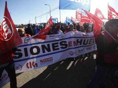 Manifestación de funcionarios de prisiones en huelga, en Madrid el pasado octubre.