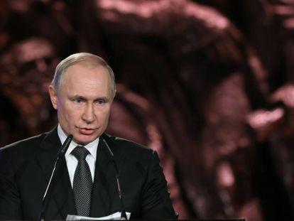 Vladímir Putin, durante su discurso el pasado 23 de enero en el Foro Mundial del Holocausto celebrado en Jerusalén.