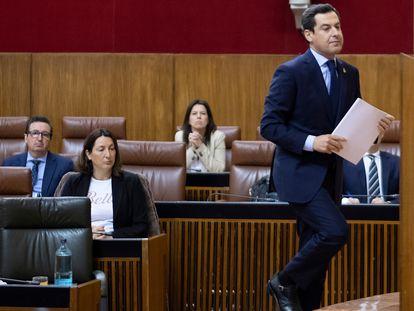 Sevilla/22-04-2020: El presidente de la Junta de Andalucía, Juan Manuel Moreno Bonilla durante su comparecencia en el Parlamento para abordar la situación del coronavirus en la comunidad.FOTO: PACO PUENTES/EL PAIS