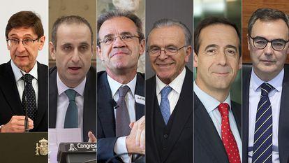 Desde la izquierda: José Ignacio Goirigolzarri,  Jaime Ponce, Jordi Gual, Isidro Fainé, Gonzalo Gortázar, y Jose Sevilla.