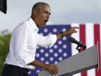 Obama, durante su discurso en la Universidad Internacional de Miami.