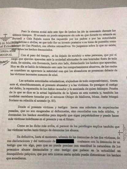 Parte de la sentencia en la que el tribunal eclesiástico reconoce la desidia de la iglesia ante los abusos a menores cometidos en su seno.