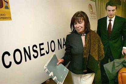 Cristina Narbona, junto al secretario para la Prevención de la Contaminación del Ministerio, Arturo Gonzalo Aizpiri.