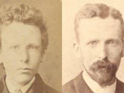 Imágenes de Theo van Gogh a los 15 años (hasta ahora atribuida a Vicent) y a los 32.