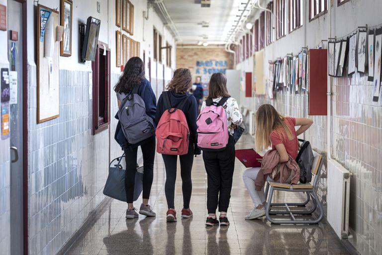 Alumnos de la ESO en un instituto público de Valencia, el pasado 12 de marzo-