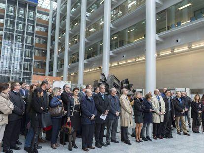 Huelga de jueces y fiscales, este lunes en la Ciudad de la Justicia de Valencia.