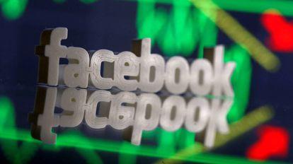 Ilustración en tres dimensiones de la marca de Facebook.