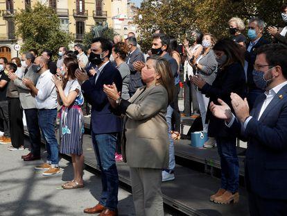 Acto de homenaje a los políticos independentistas encarcelados en el primer aniversario de la sentencia del 'procés'.
