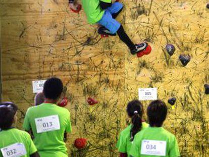 Varios niños en una competición de escalada celebrada por el Club de Climb.