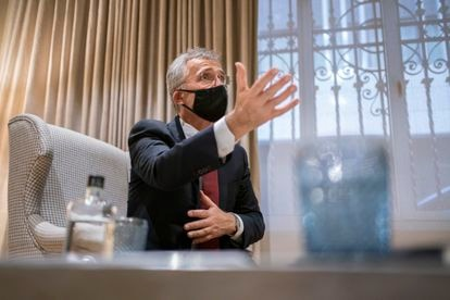 Jens Stoltenberg, durante de la entrevista, en un hotel de Madrid.