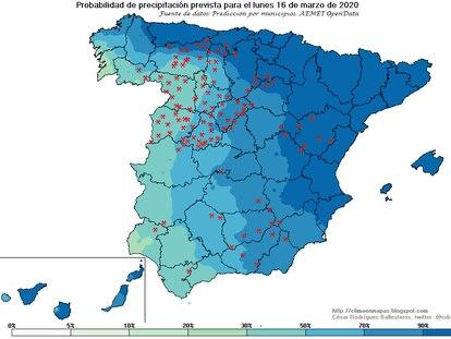 Probabilidad de precipitación prevista para el lunes 16, los puntos rojos son nieve. CÉSAR RODRÍGUEZ BALLESTEROS / AEMET