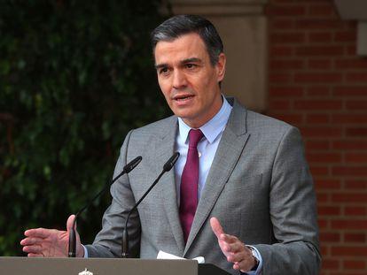 Pedro Sánchez, durante el anuncio de los indultos a los presos del 'procés', el martes en La Moncloa.
