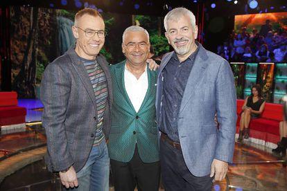 Jordi González, Jorge Javier Vázquez y Carlos Sobera, los tres presentadores de 'Supervivientes'.