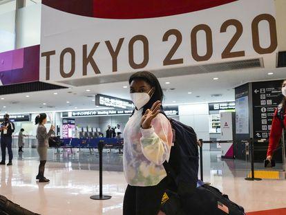 Biles, el pasado día 15 a su llegada al aeropuerto de Narita, en Tokio.
