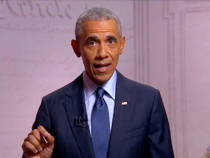 El expresidente Barack Obama, durante su discurso en la Convención Demócrata.