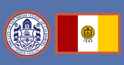 Coat of arms and flag of San Diego (United States).
