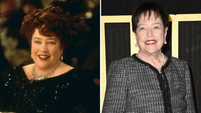 Kathy Bates, en 'Titanic' y en un acto en 2018.