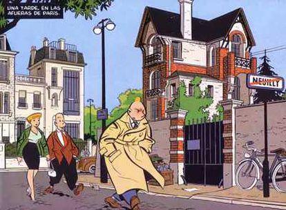 Viñeta de 'El Cementerio de los Elefantes, una aventura de Freddy Lombard', de Yves Chaland.