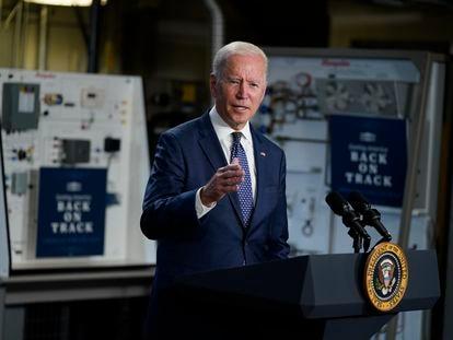 El presidente de EE UU, Joe Biden, durante una conferencia en Portsmouth, Virginia.