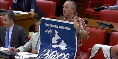 Sabino Cuadra, en octubre de 2013, durante su intervención en la comisión del Pacto de Toledo, en el Congreso.