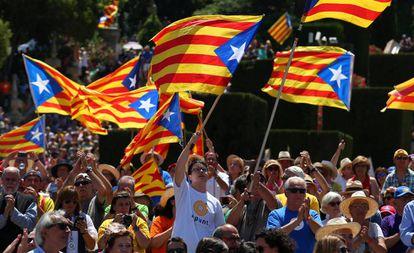 Una manifestación a favor de la independencia de Cataluña.