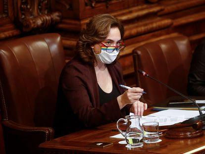 Ada Colau, durante el último pleno de 2020.