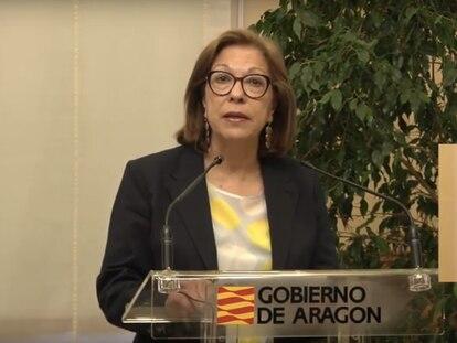 La consejera de Sanidad de Aragón, Pilar Ventura, durante una rueda de prensa este martes.