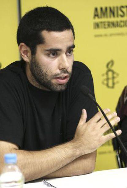 Gabriel Jimenez, detenido por la policía en la manifestacion 'Rodea el Congreso'