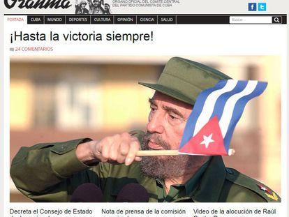 El periódico de la Revolución, 'Granma', llora la muerte de su líder.