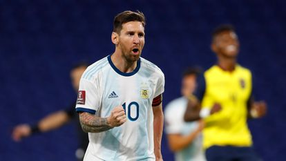 Messi, tras anotar el gol contra Ecuador.