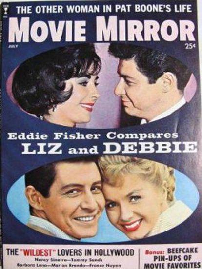 Portada de 'Movie Mirror' de 1960 con el triángulo Eddie Fisher, Elizabeth Taylor y Debbie Reynolds. El primero y el tercero, casados casi por obligación a instancia de un estudio, fueron padrinos de boda de Taylor. Después Fisher se fue con ella.