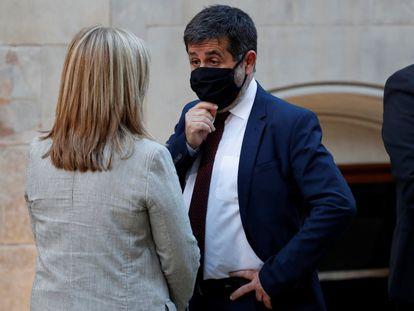 El secretario general de Junts, Jordi Sànchez y la 'exconsellera' de Cultura, Angels Ponsa, en una imagen de archivo
