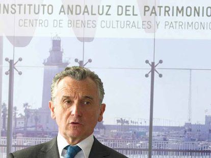 Paulino Plata, durante el acto de ayer en Málaga.