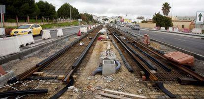 Obras del tranvía en Chiclana de la Frontera (Cádiz).