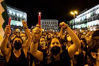 Manifestación en contra de la violencia machista en la Puerta del Sol, en Madrid, el 11 de junio.