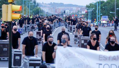 Protesta del movimiento Alerta Roja, hoy en Zaragoza.