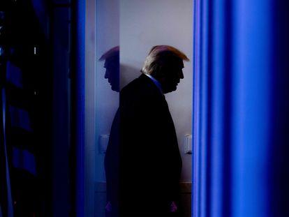 El presidente de EE UU, Donald Trump, antes de una rueda de prensa en la Casa Blanca en abril.