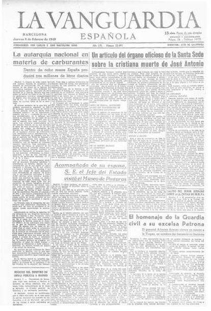 Portada de 'La Vanguardia' del 8 de febrero de 1940 anunciando el milagroso carburante.
