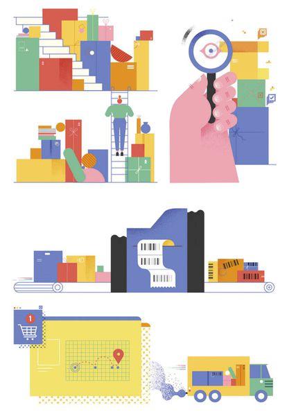 El almacén de Amazon en Madrid se organiza en torno al apilado vertical. Un sofisticado 'software' registra dónde está cada uno de los productos. El ordenador elige el empaquetado según el número y la forma de los artículos. Amazon tiene un servicio de entrega en un día para sus clientes Premium.