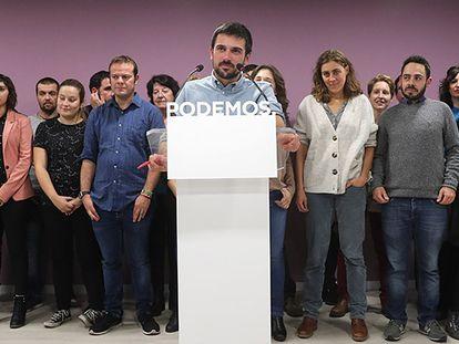 Ramón Espinar tras conocerse los resultados de las votaciones.
