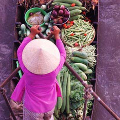 Mercado flotante en el delta del Mekong, en la región de Vietnam que los franceses denominaron la Cochinchina.
