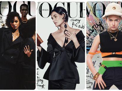 Tres de las portadas diseñadas por Kim Jones para 'Vogue Italia'.