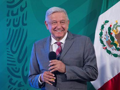 El presidente Andrés Manuel López Obrador, en una rueda de prensa en Palacio Nacional.