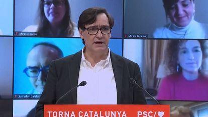 El ministro de Sanidad y candidato del PSC a las elecciones catalanas, Salvador Illa, en el acto de este domingo.