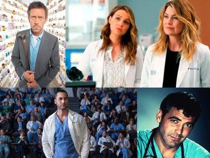 Arriba, los actores Hugh Laurie en la serie House, y Ellen Pompeo y Camilla Luddington en Anatomía de Grey. Abajo, Ryan Eggold en New Amsterdam y George Clooney en su papel de médico en Urgencias.