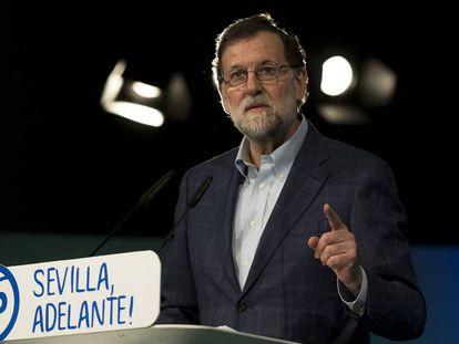 Mariano Rajoy, el sábado durante un mitin en Sevilla.