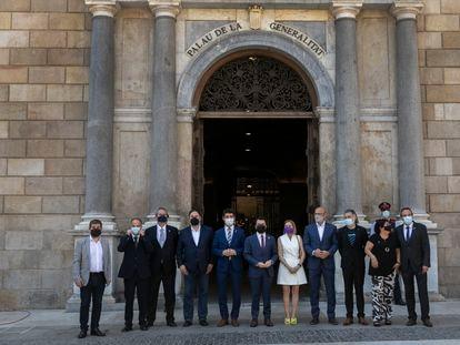 Recepción oficial del Govern, en el Palau de la Generalitat, de los líderes independentistas indultados por el Gobierno, este lunes.